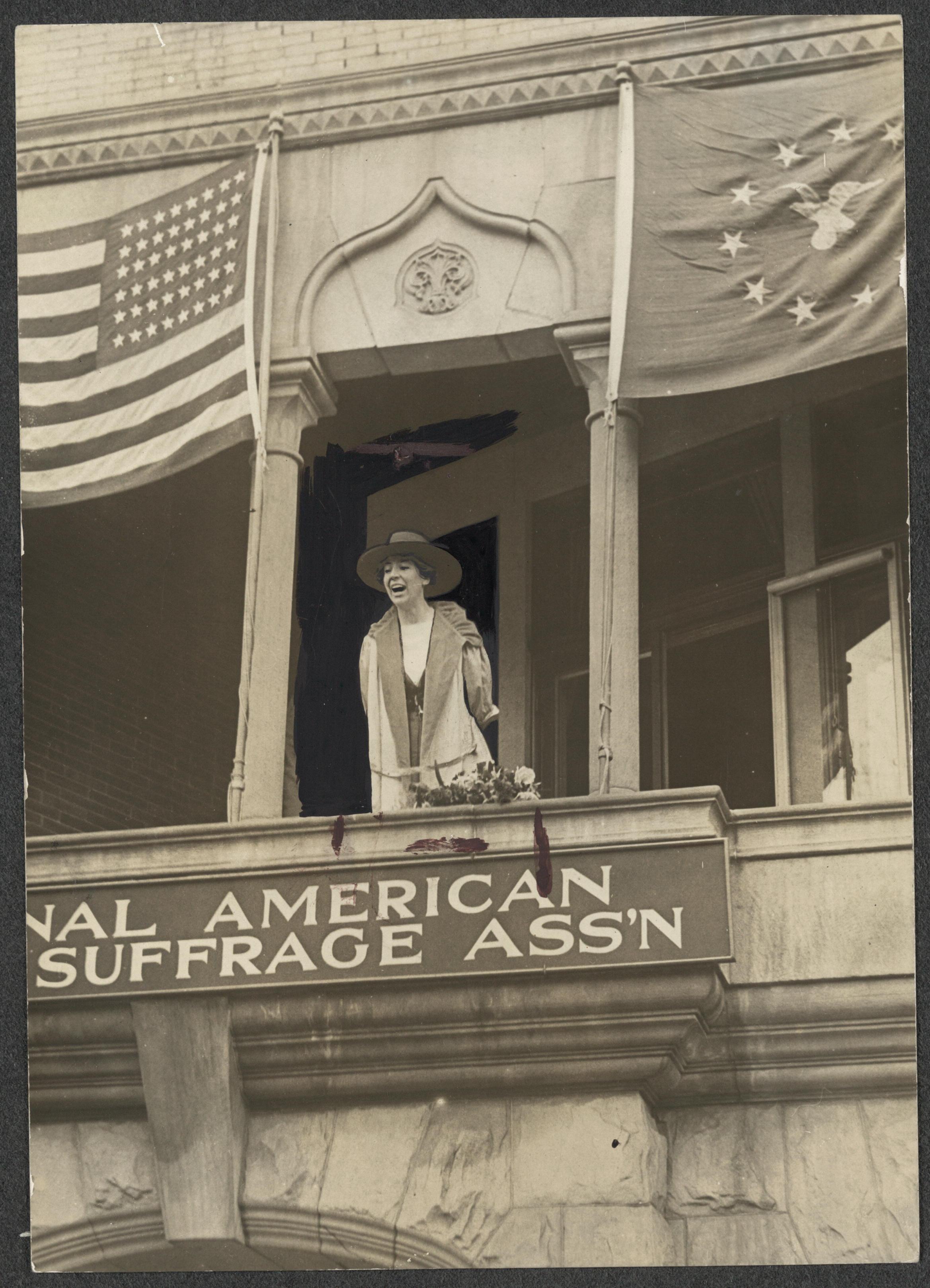 Jeannette Rankin speaking from balcony National American Woman Suffrage Association 04-02-1917