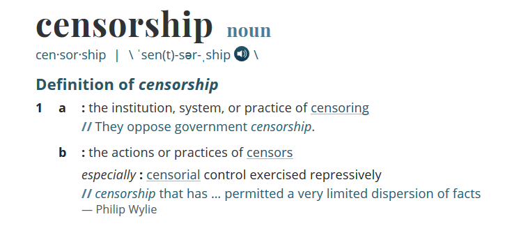 Definition of Censorhsip with link to bannedbooks.org