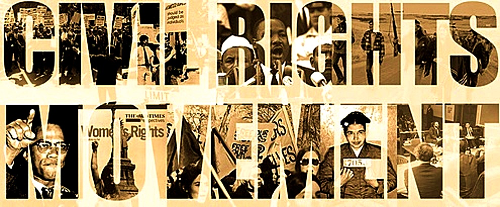 The words CIVIL RIGHTS with historical photos superimposed