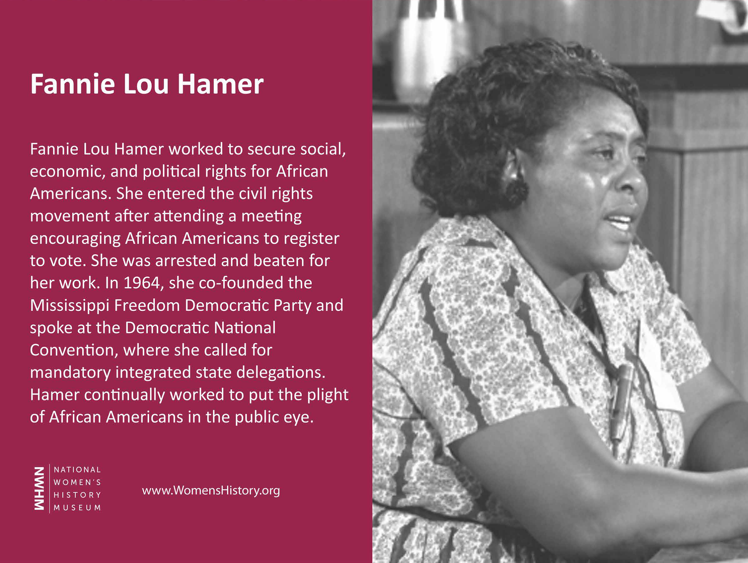 Fannie Lou Hamer worked to secure social, economic, and political rights for African Americans. She entered the civil rights movement after attending a meeting encouraging African Americans to register to vote. She was arrested and beaten for her work. In 1964, she co-founded the Mississippi Freedom Democratic Party and spoke at the National Convention, where she called for mandatory integrated state delegations. Hamer continually worked to put the plight of African Americans in the public eye.