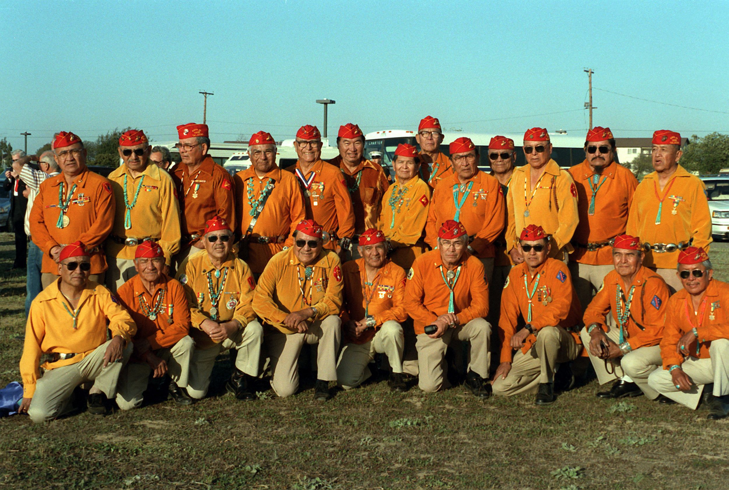 Members of the 3rd and 4th Division Navajo code talker platoons of World War II (1987)