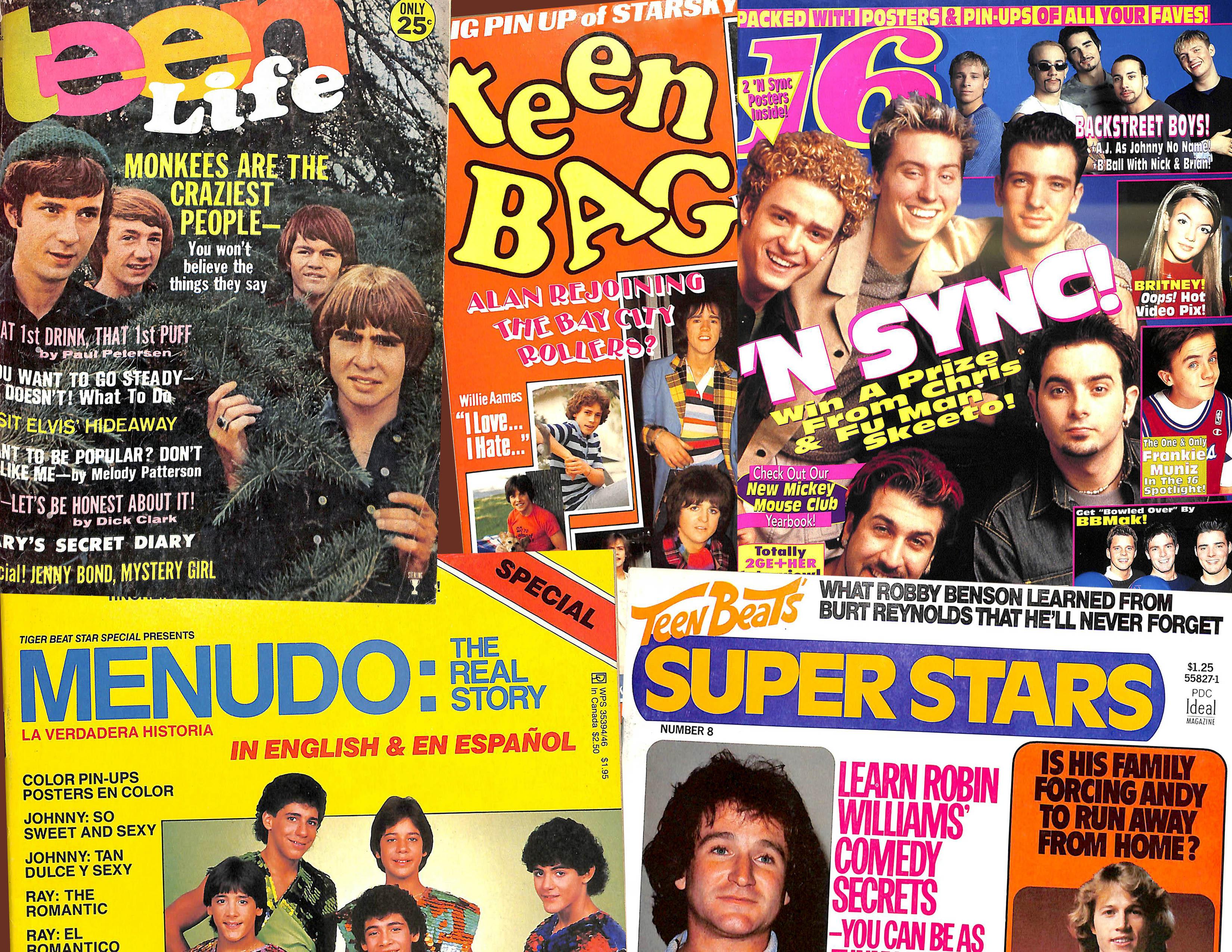 Teen magazine covers: Teen Beat, Tiger Beat, Teen Bag