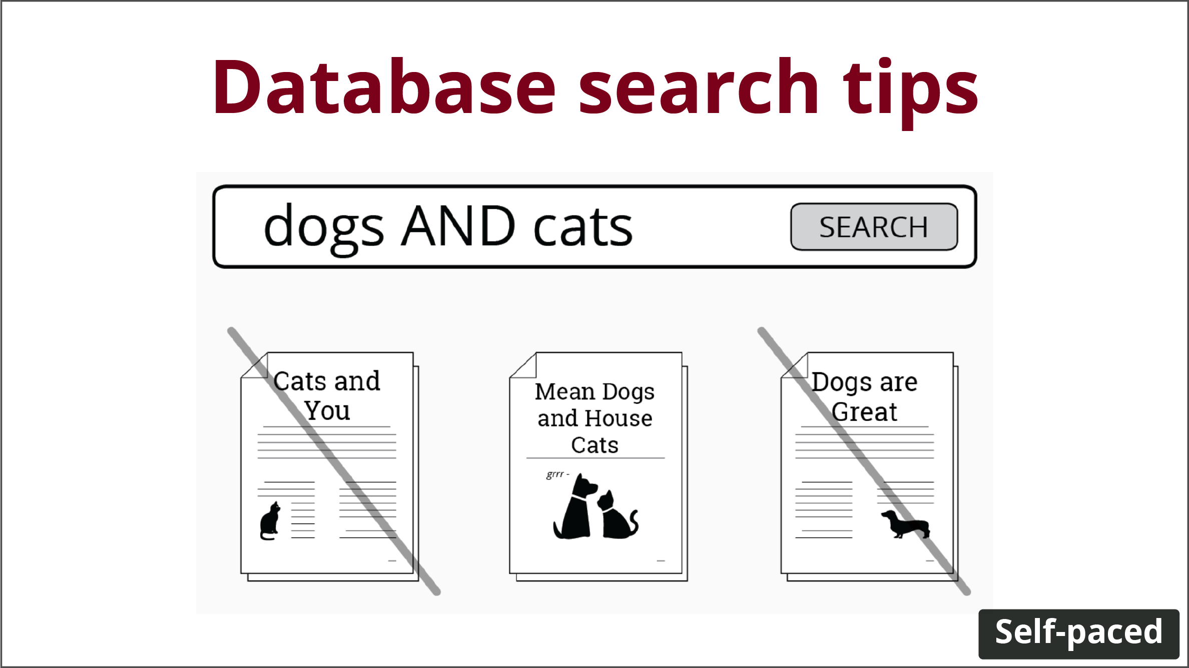 """""""dogs AND cats"""" as a search term. timestamp says """"Self-paced"""""""