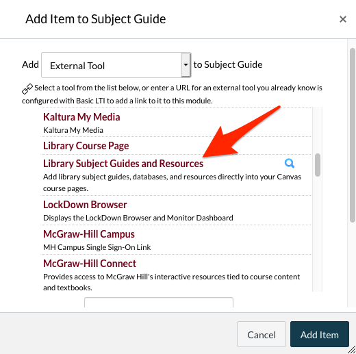 """Add item to Subject Guide screenshot. An arrow points to """"Library Subject Guides and Resources"""""""