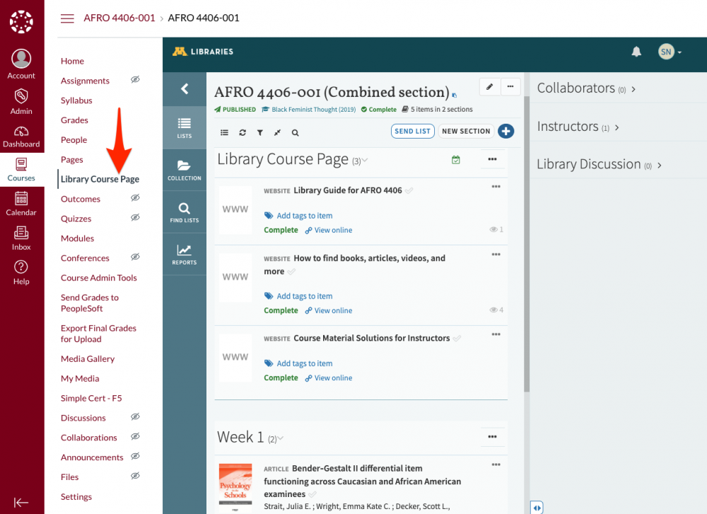 """Snapshot of a Canvas page with an arrow to """"Library Course Page"""" which is the option needed for this integration."""