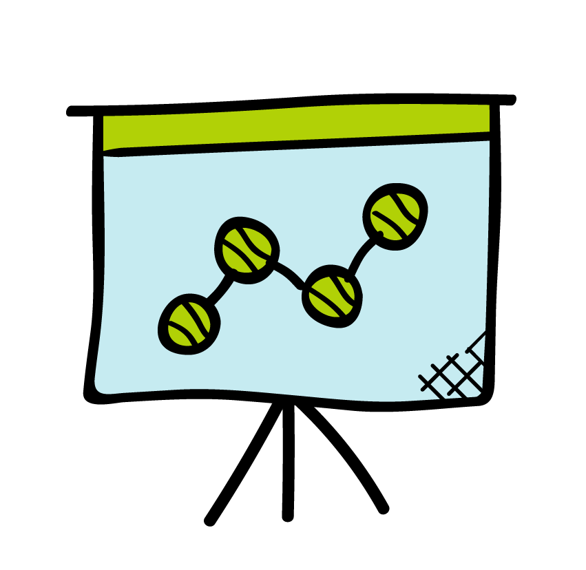 An icon of a presentation with a line chart