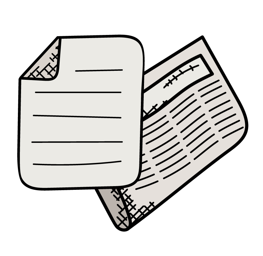 Icon of two paper sources stacked on top of each other.