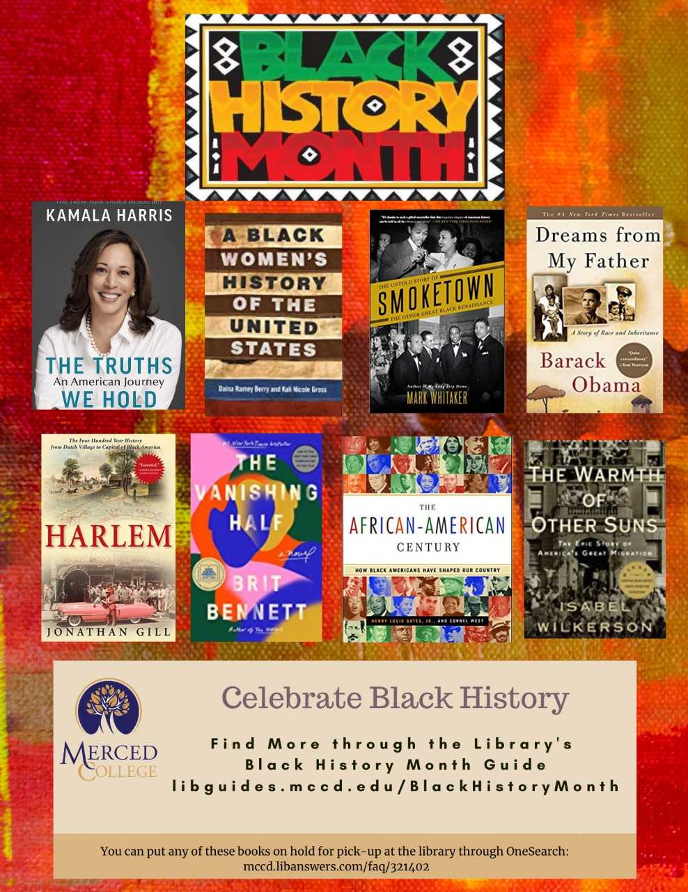 Ad sharing about the library's Black History Month guide