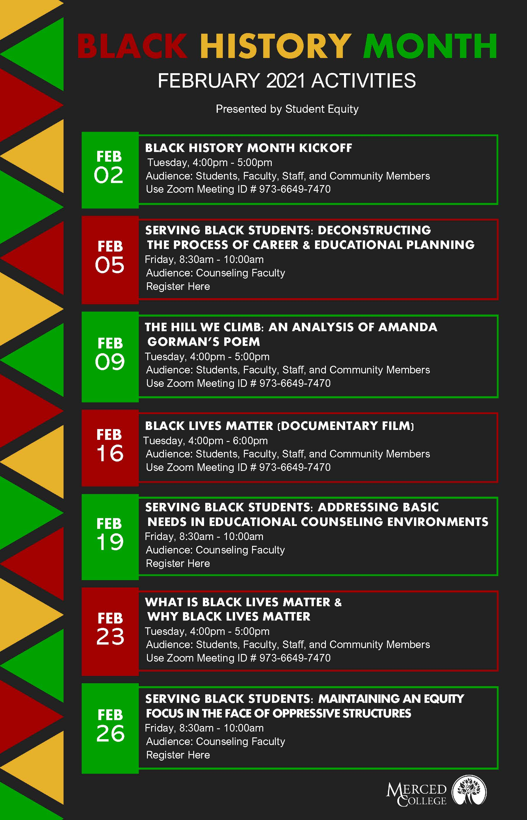 Black History Month list of activities for Feb 2021