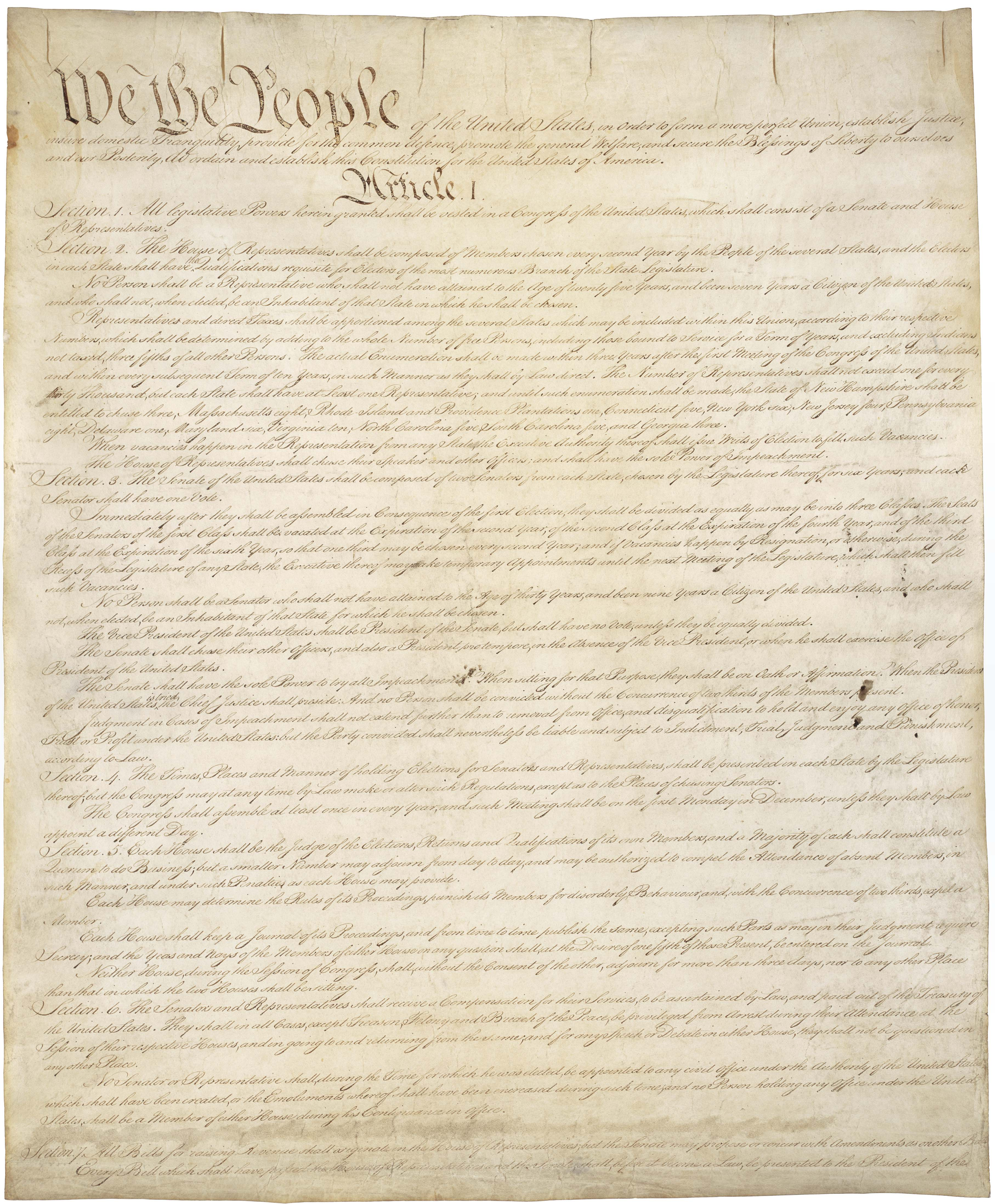 First page of original US Constitution