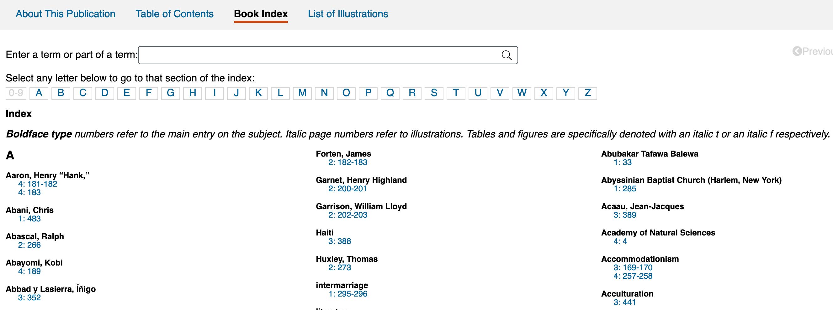Screenshot of a book index