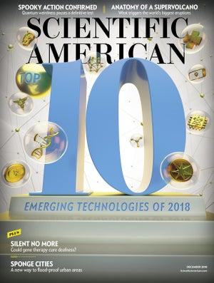 Cover of the Dec 2018 issue of Scientific American