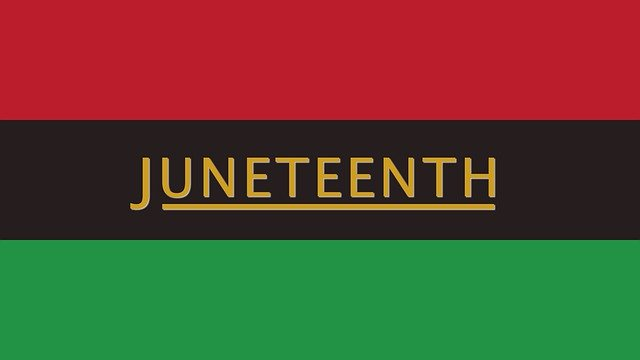 Juneteenth written in yellow on top of a red, black, and green background