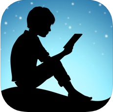 Kindle logo Silhouette of child reading a book seated in front of a starry sky.