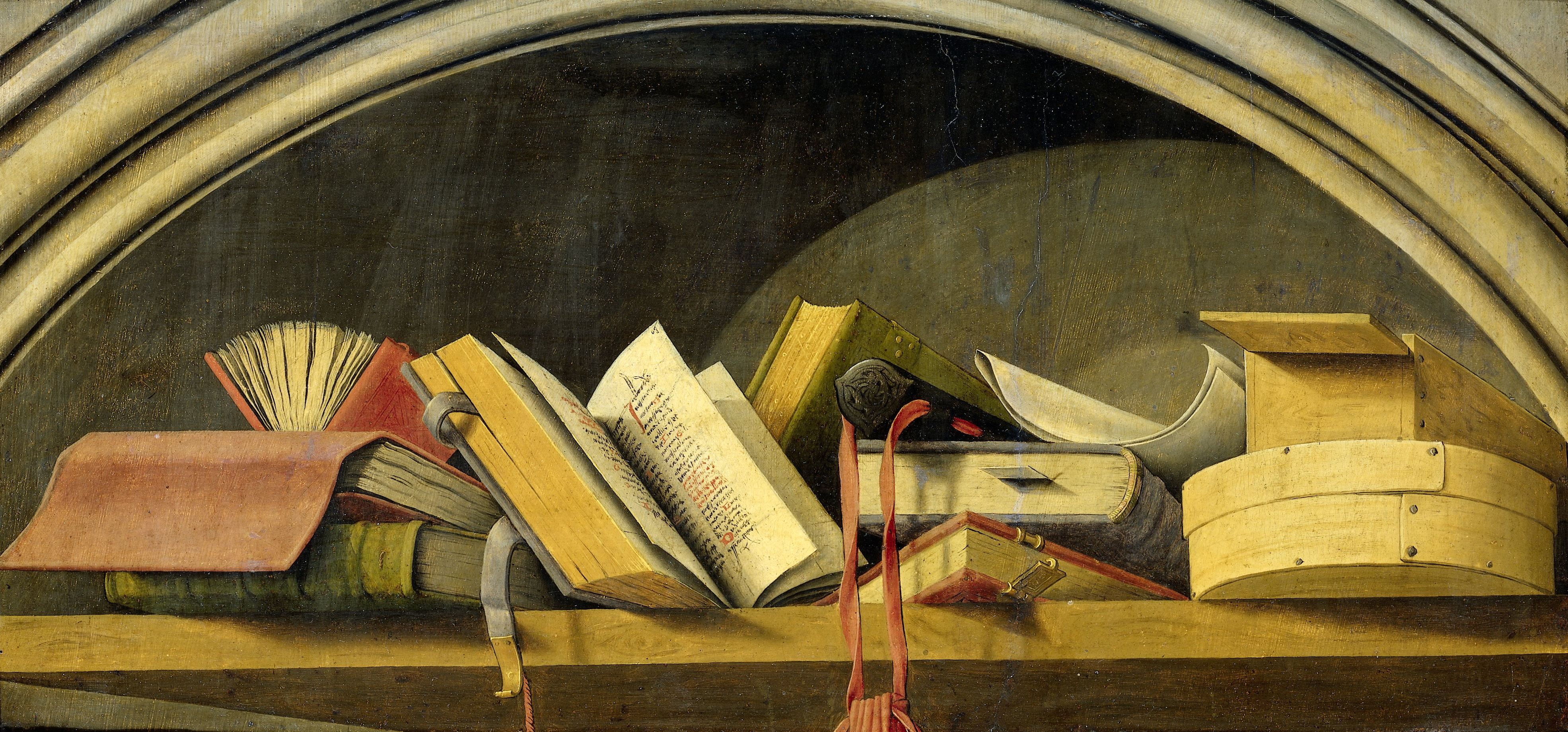 Still Life with Books in a Niche
