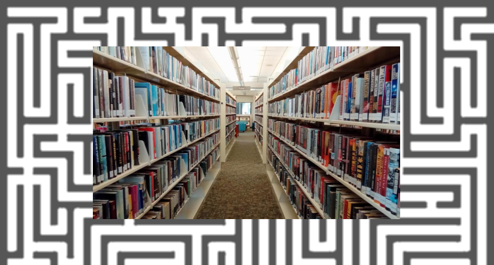 Library shelves full of books, surrounded by a maze.