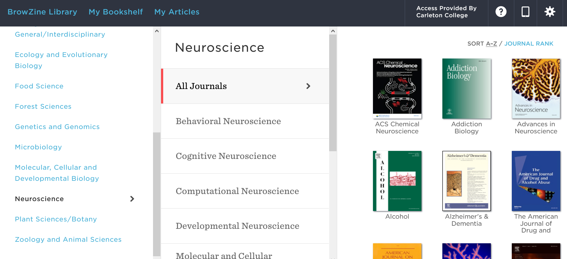 """Screenshot of Browzine. On the left side of the screen, the category """"Neuroscience"""" has been selected from a list of disciplines. On the right side of the screen, a list of neuroscience journals is displayed."""