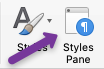 Screenshot of Styles Pane button on Microsoft Word for Mac users