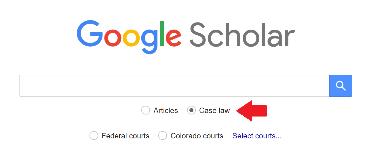 "A screenshot of Google Scholar with the option to search ""Case law"" highlighted"