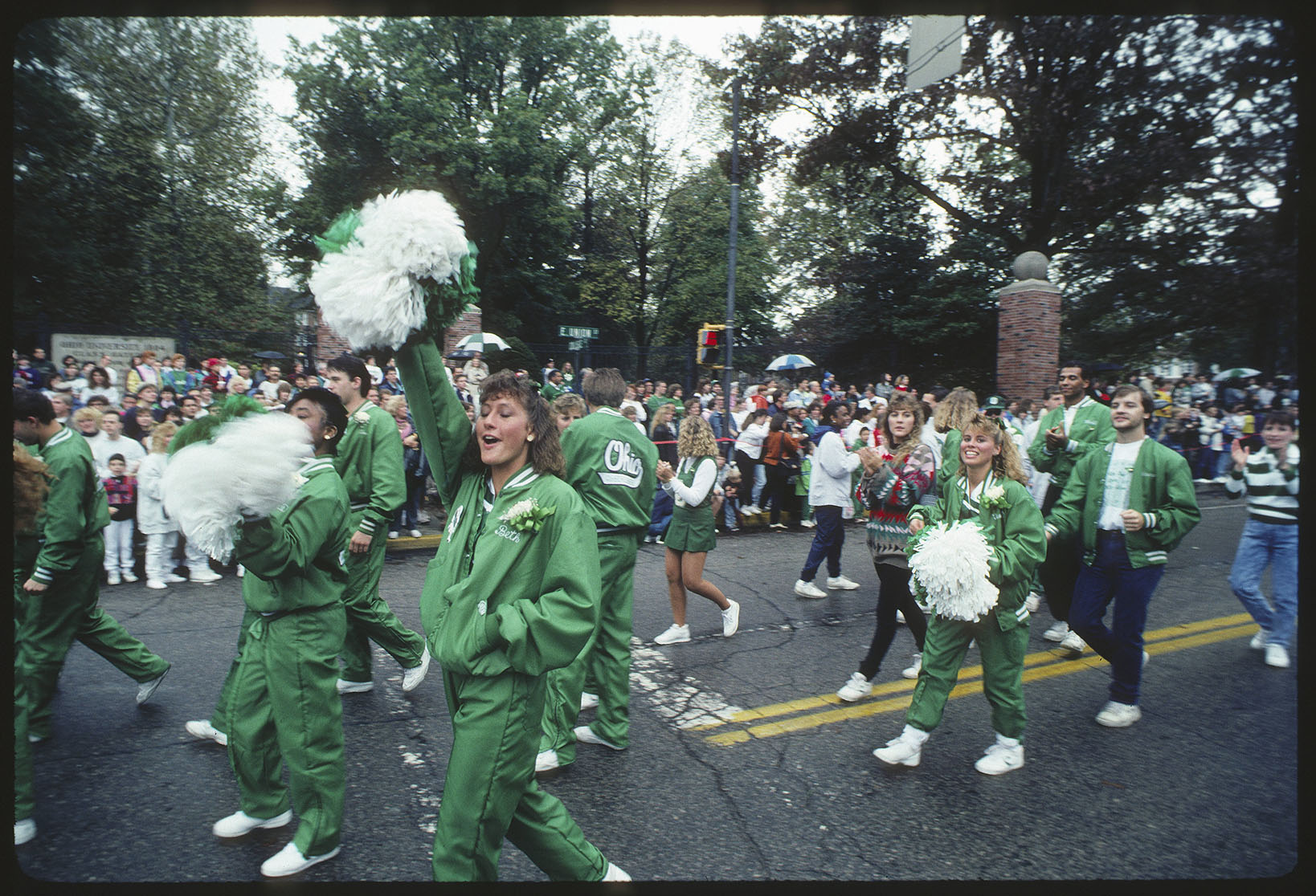 Cheerleaders, Ohio University homecoming parade, 1990