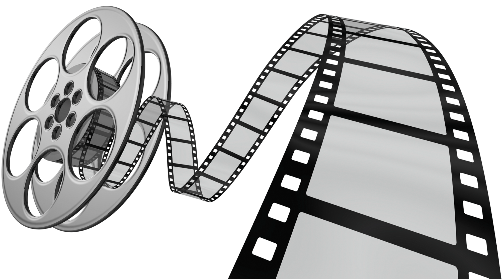 Black and white illustration of movie film reel