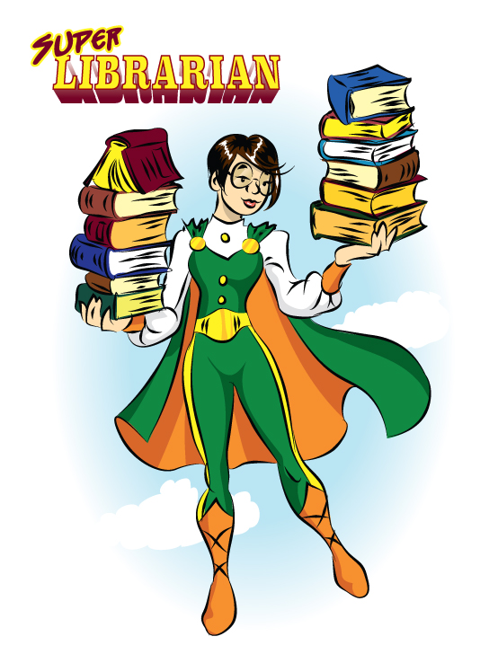 Graphic of Super Librarian holding books and wearing a cape