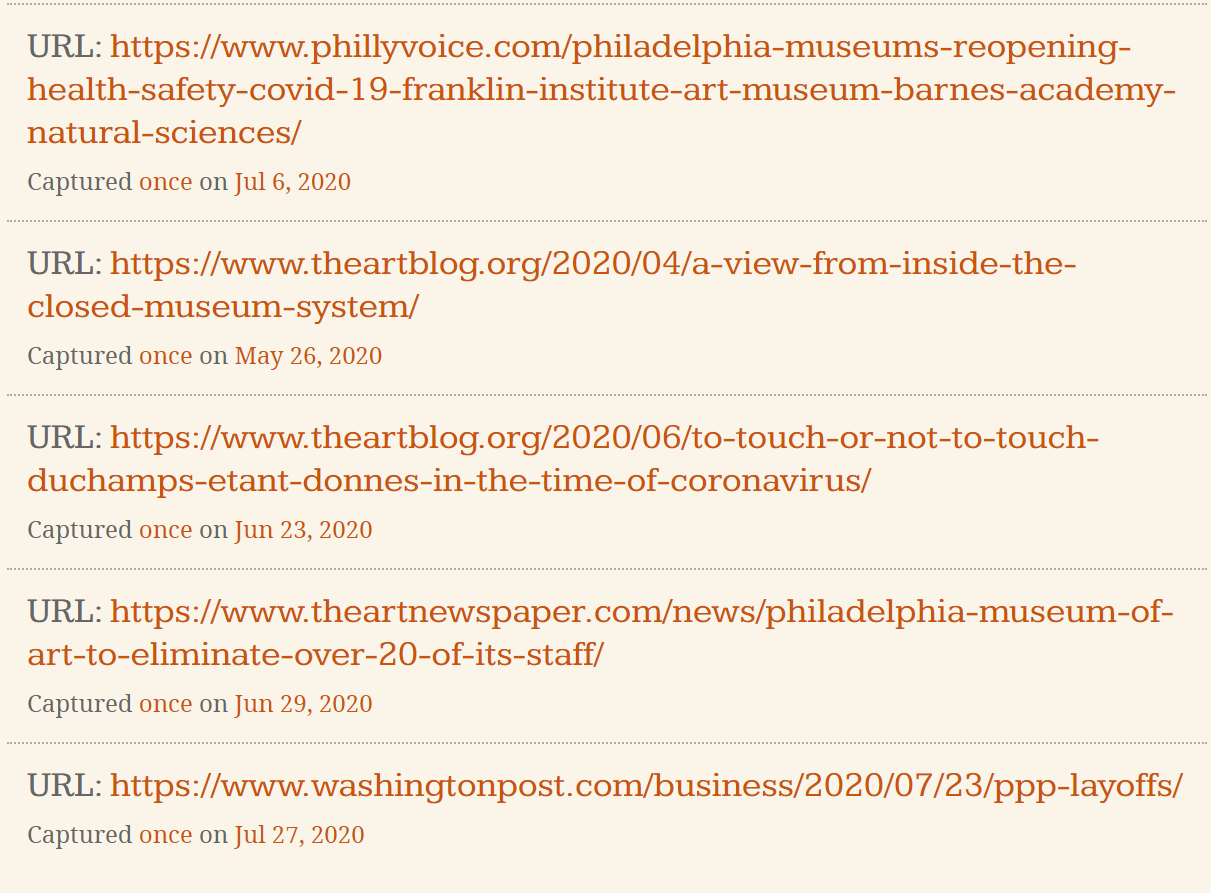 Screen shot of URLs captured for PMA's COVID-19 web archives