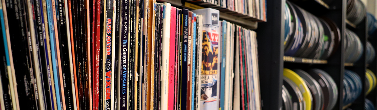 Stacks of records and Films