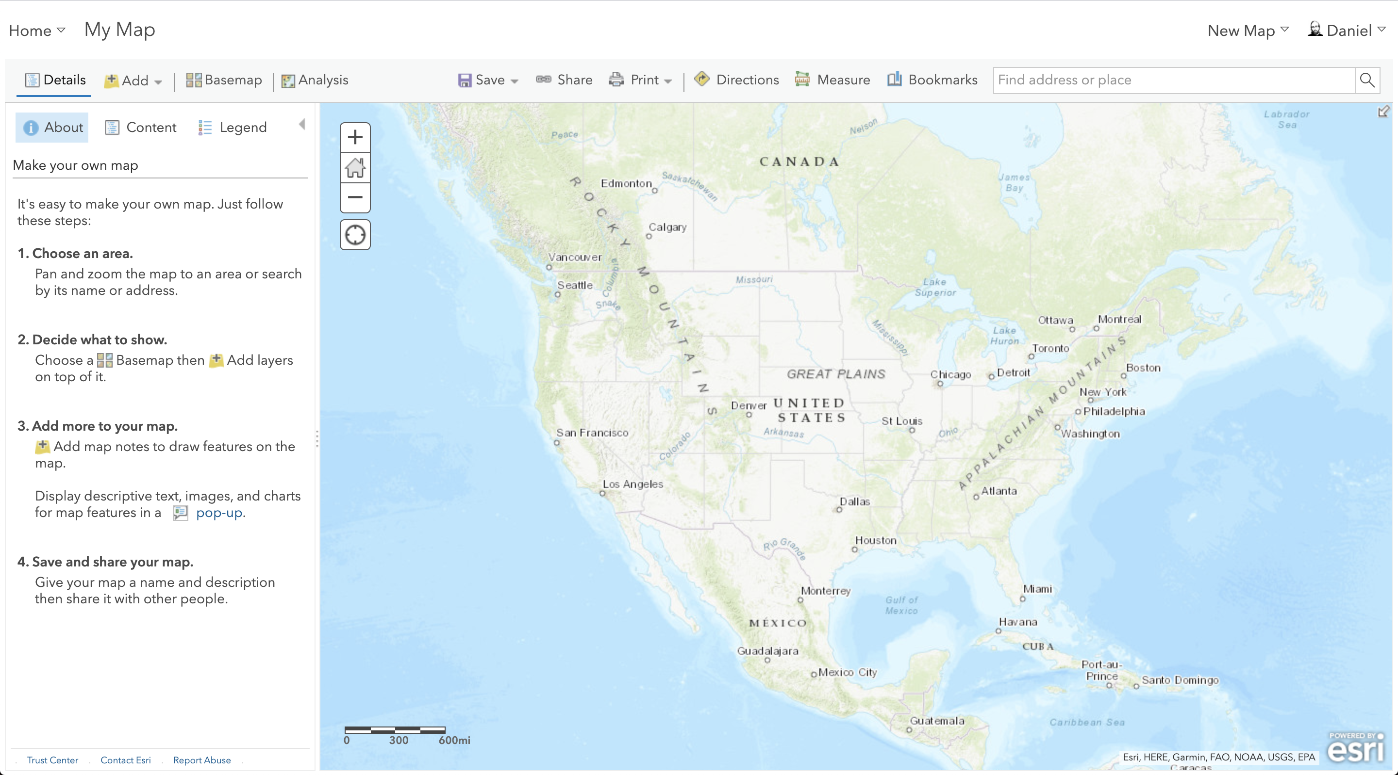 ArcGIS map screen