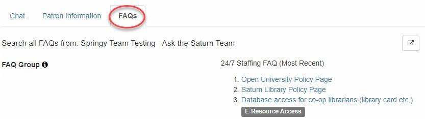 sharing an FAQ when chatting