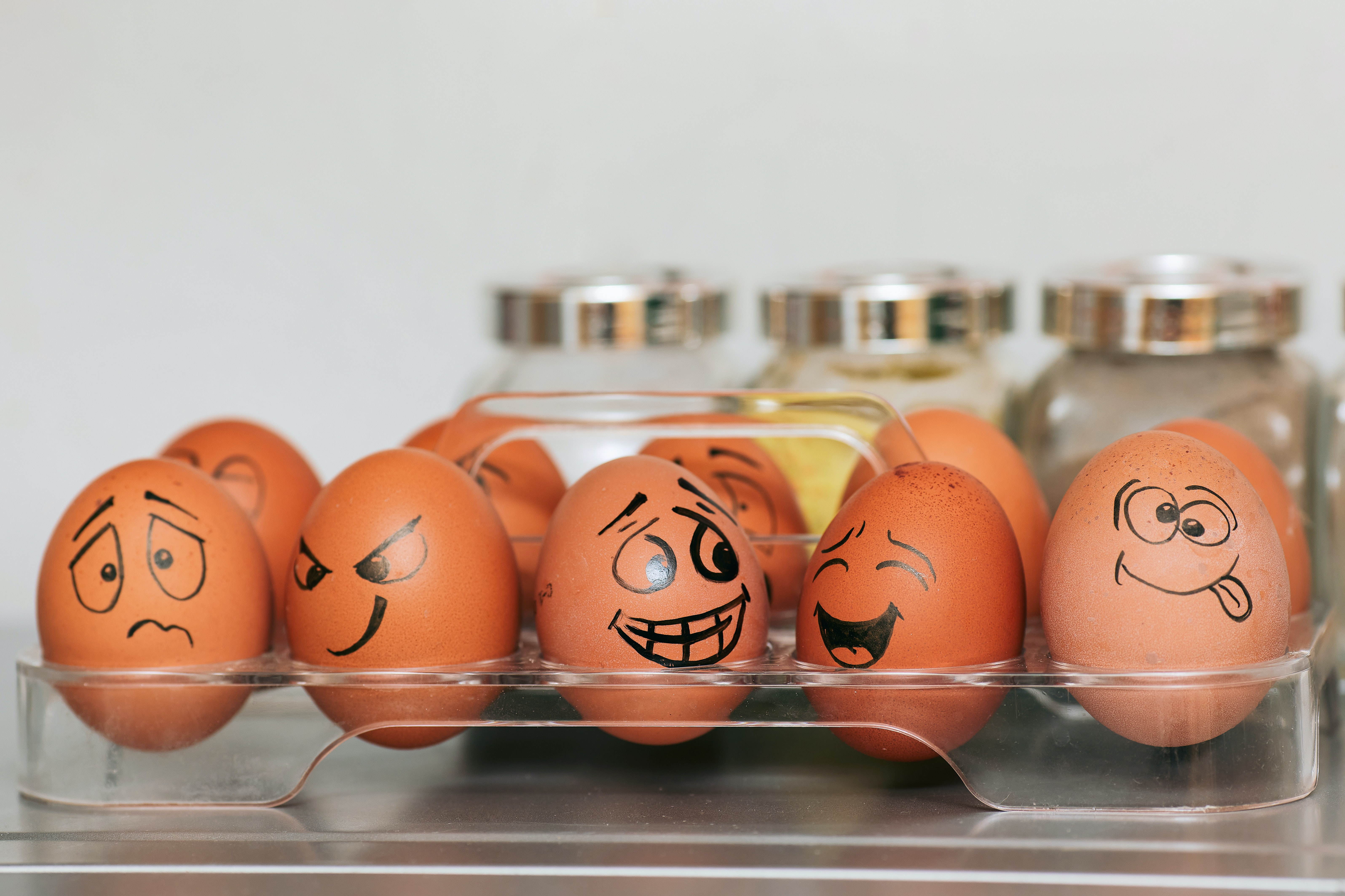 Eggs drawn as different emotions