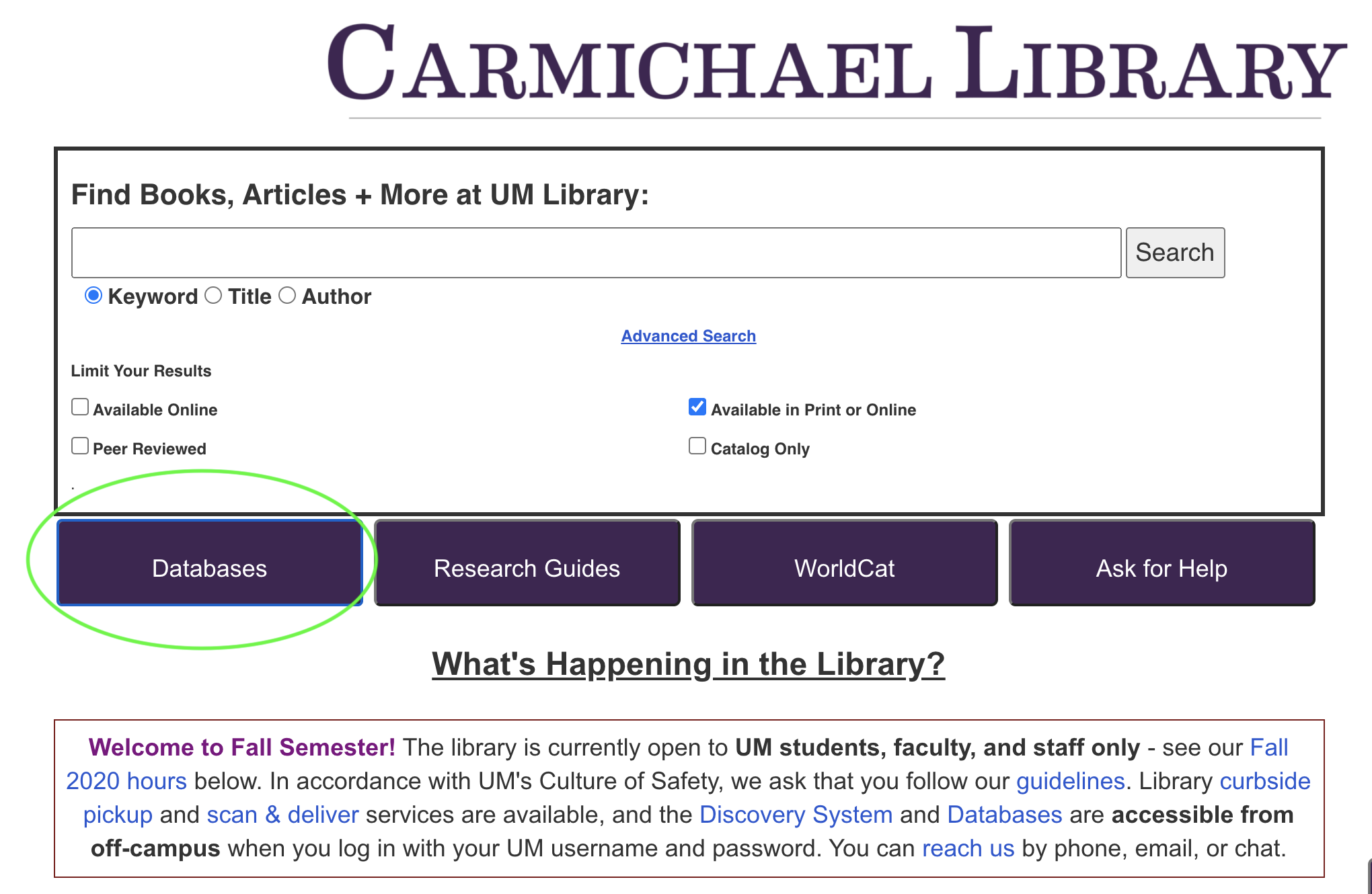 library homepage with database button highlighted