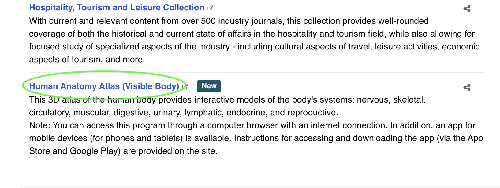 Database listing with Human Anatomy highlighted