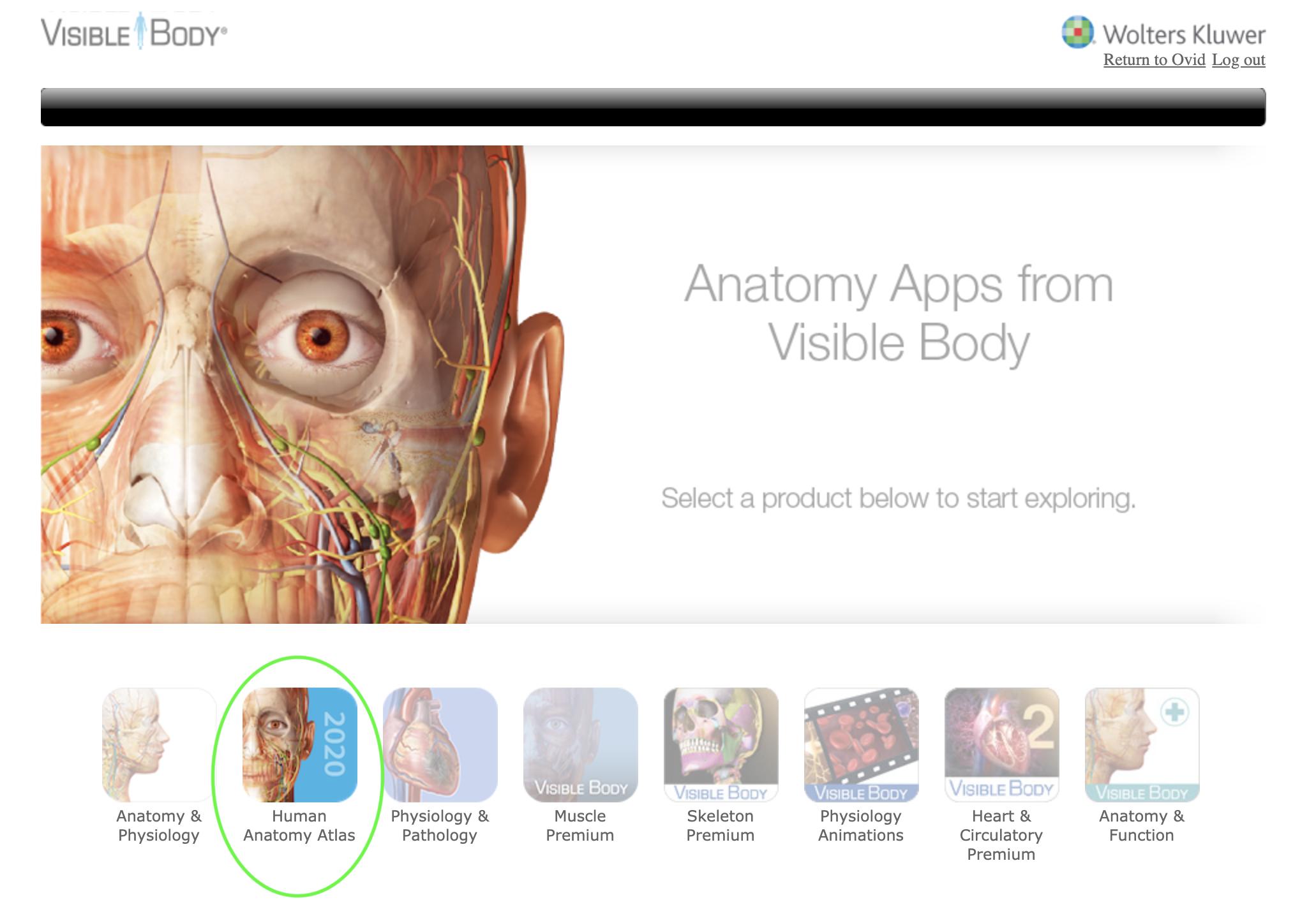 Human Anatomy Atlas app highlighted