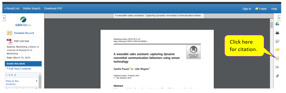 Article with Citation Icon on left menu highlighted.