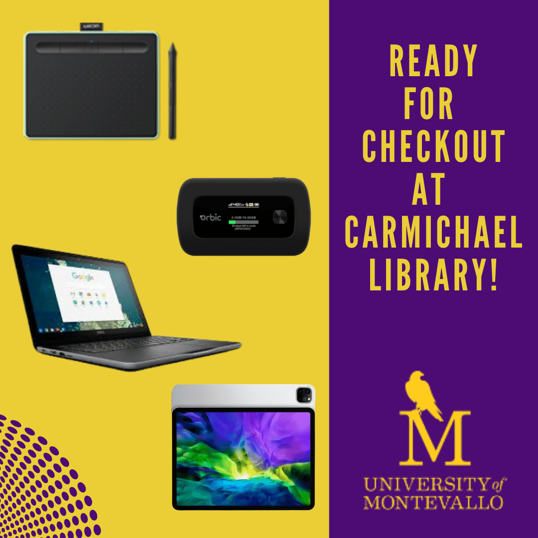 checkout laptops, ipads, wifi hotspots, wacom devices and more