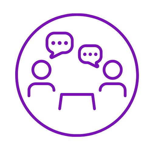 Two people talking/meeting