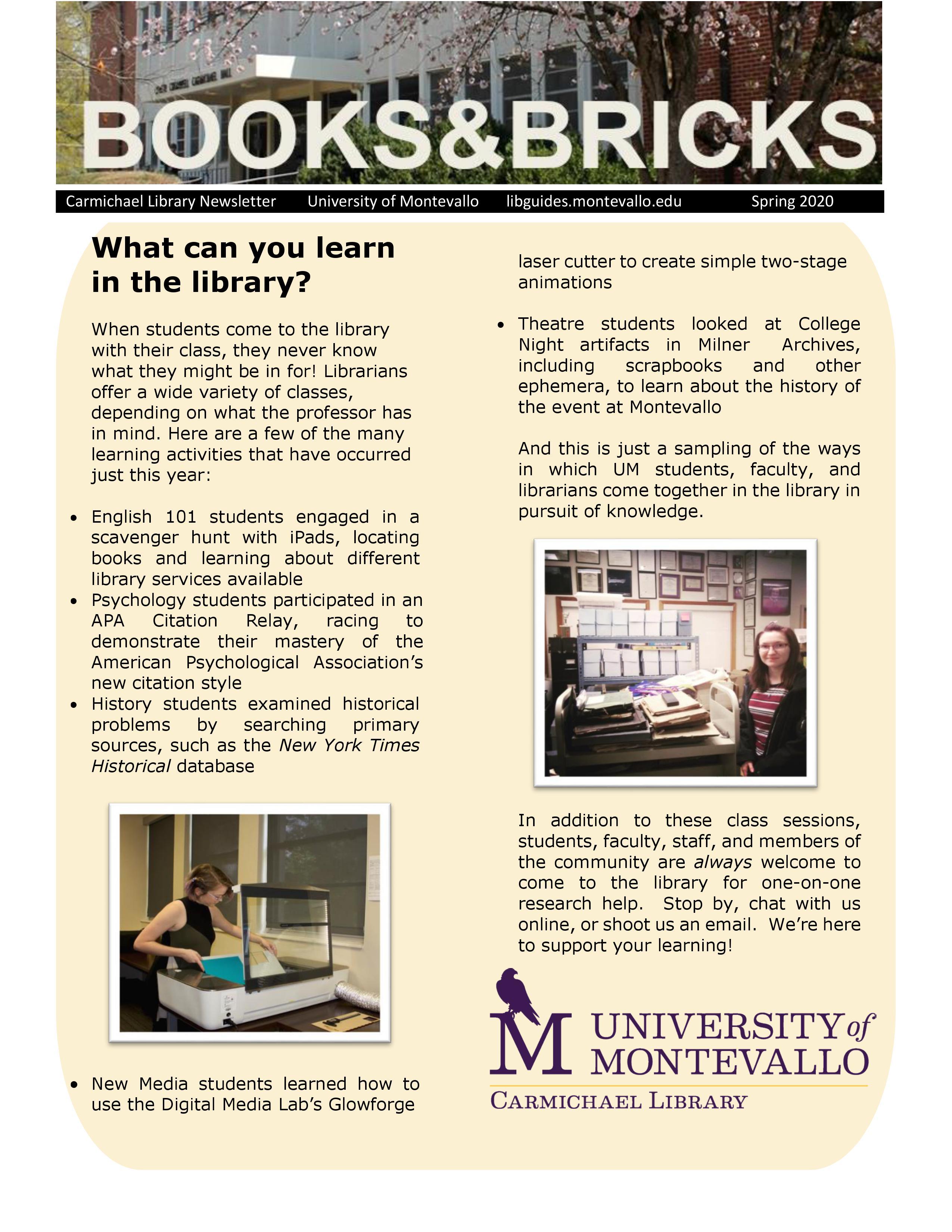 Carmichael Library, University of Montevallo, Spring 2020