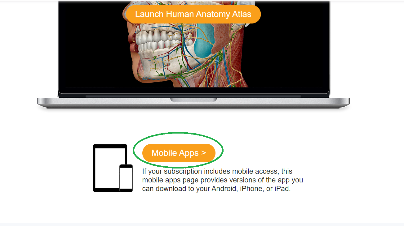 click the Mobile App button under the laptop image