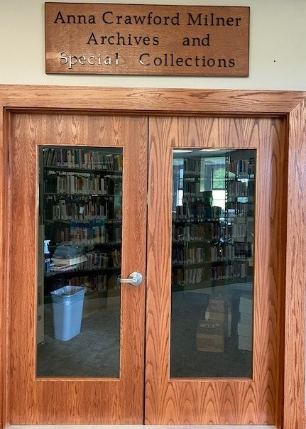 Anna Crawford Milner Archives and Special Collections Entrance and Sign