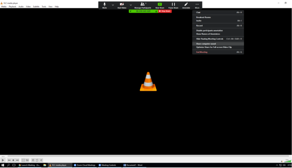 """Screenshot of VLC player with """"Share Sound"""" option menu under the three dots """"More"""" top level menu option"""