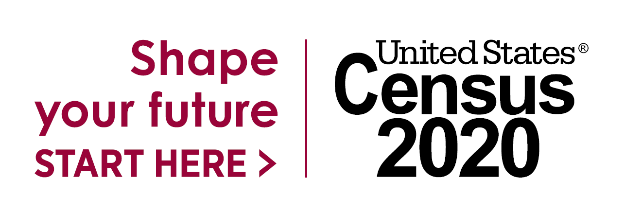 "2020 Census logo with ""Shape your future - Start here"" with an arrow on the left and ""United States Census 2020"" on the right"