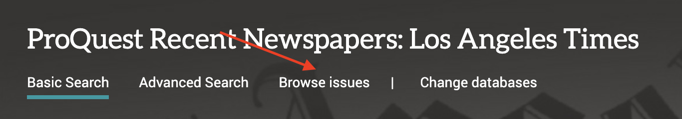 arrow pointing to browse issues