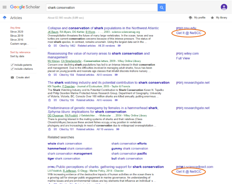 Google Scholar search results for Shark Conservation.  Two citations have Get it @ NeSCC highlighted.