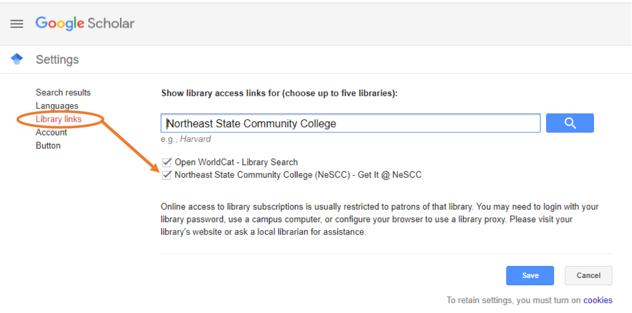 Click on Library Links.  Search for Northeast State Community College.  Check the box next to Northeast State Community College and click on save.