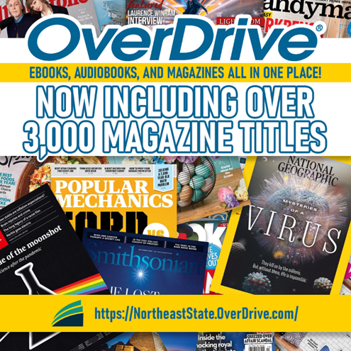 OverDrive eBook, Audiobooks and magazines all in one place!  Now Including over 3,000 Magazine titles.