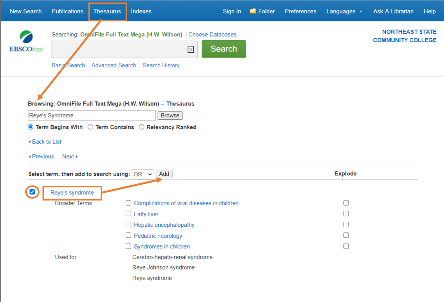 Browse the thesaurus in EBSCO databases for subject terms.  Once you find the one you want, click the check mark next to it and click on Add.