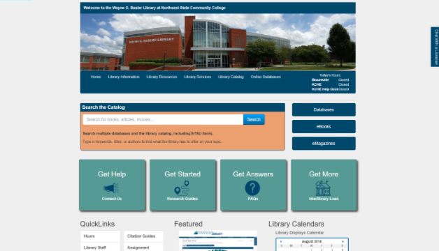 Library Website Homepage