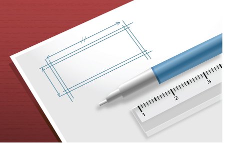 Ruler and drafting pencil on paper with schematic