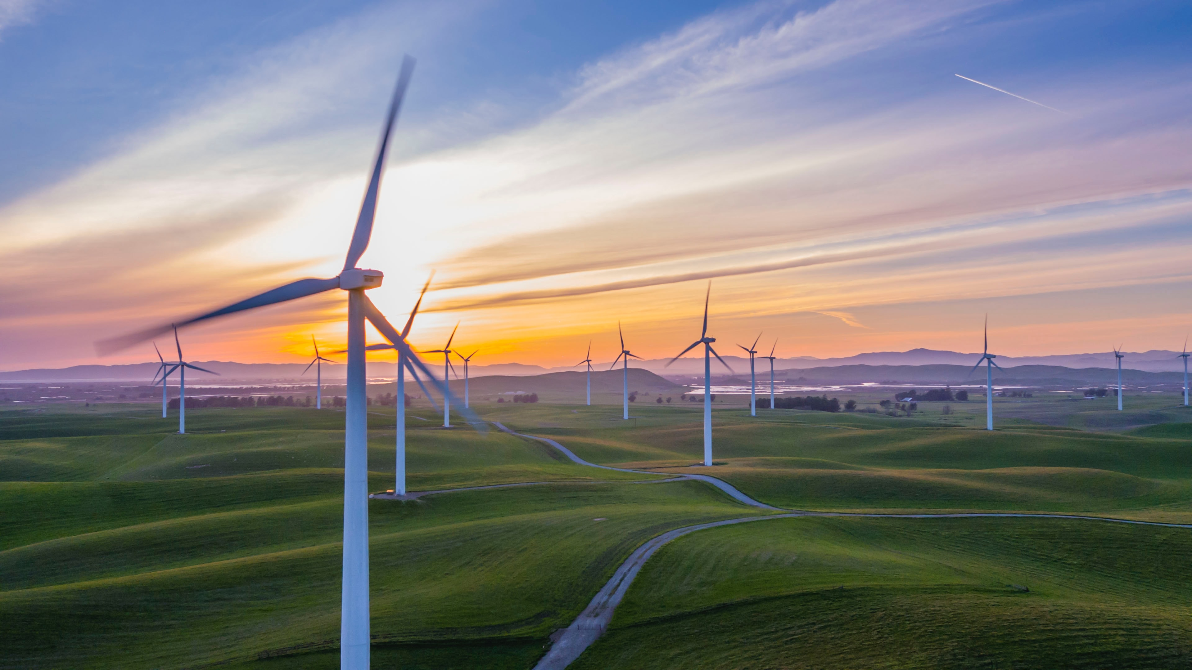 Wind turbines in a green field at sunset